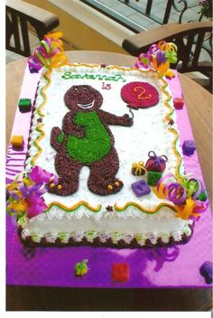 barney cakes | Barney Cake - Childre... ) Barney Birthday Cake, 2yr Old Birthday, Barney Cake, Barney Party, 3rd Birthday Parties, Boy Birthday, Birthday Cakes, Birthday Ideas, Barney Night Before Christmas