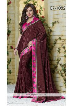 Perplexing Brown Saree Endorsed By Neha Sharma