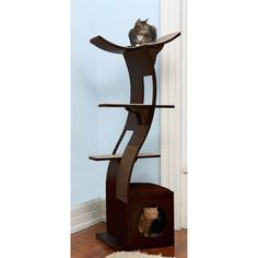 Lotus Cat Tree Condo Tower With Hide A Way Cubby Stepped Shelves large platform