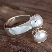 Pearl wrap ring, 'Encounter' by NOVICA