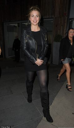 Playing it cool: Gemma wrapped up warm in a stylish leather jacket as she left Manchester House in Spinningfields before heading off to The Oxford Club in the city Gemma Atkinson, Lbd, Knee High Boots, Manchester House, Night Out, Oxford, Beautiful Women, Leather Jacket, Glamour