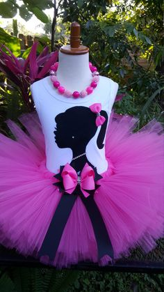 Pink tutu set. Girls tutu silhouette tutu outfit Birthday