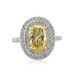 2.90ct Fancy Light Yellow Oval Cut Diamond Engagement Ring $12,995