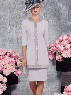 Sheath/Column Scoop 3/4 Sleeves Knee-Length Satin Applique Mother of the Bride Dresses at HerDress Online