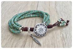 Turquoise Wrap Bracelet, Native American Style Seed Bead Leather Wrap Bracelet, Southwestern Jewelry, Beaded Wrap Bracelet, Southwest Boho