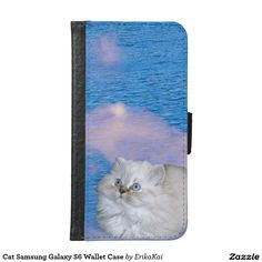 White Cat and Blue Water Wallet Case for Samsung Galaxy S4, S5 or S6