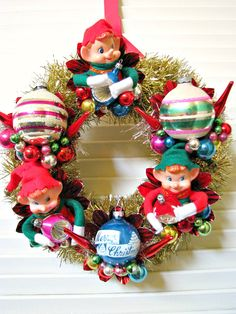 Vintage Elf Pixies Kitsch Christmas Wreath. $48.00, via Etsy.