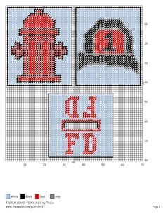 Fire department x-stitch Plastic Canvas Coasters, Plastic Canvas Ornaments, Plastic Canvas Tissue Boxes, Plastic Canvas Christmas, Plastic Canvas Crafts, Plastic Canvas Patterns, Needlepoint Patterns, Cross Stitch Patterns, Canvas Designs