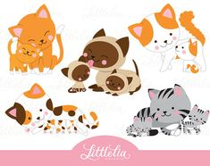 Cat mom and kitten family clipart 16054 by LittleLiaGraphic Cat Lover Gifts, Cat Lovers, Pet Shop, Family Clipart, Doodle Characters, Cat Clipart, Image Clipart, Clip Art, Kawaii Cat