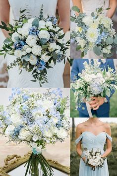 light blue and green wedding color ideas- light blue and greenery wedding bouquets Wedding Mint Green, Lilac Wedding, White Wedding Flowers, Floral Wedding, Peony Bouquet Wedding, White Wedding Bouquets, Bridal Bouquets, Spring Wedding Colors, Summer Wedding