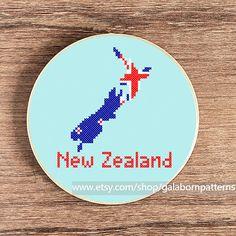 PDF counted cross stitch pattern New Zealand by galabornpatterns