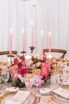 Glamorous pink candle wedding reception centerpiece; Via Rachel A. Clingen Wedding & Event Design