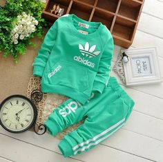 1039b069f3fe green 18months Baby boy Girl Clothing tracksuit suit Long Sleeve shirts +  Pants Girl Clothing