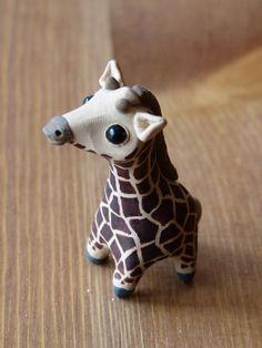 Tiny giraffe - Handmade miniature polymer clay animal figure