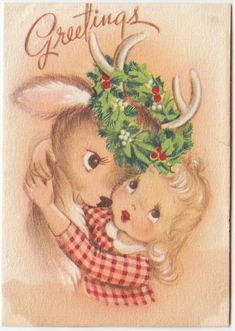 Girl hugging reindeer