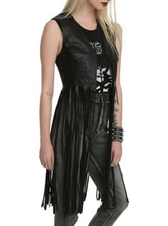 Black+PU+vest+with+tie+closure+and+front+pockets+-+and+rockin'+long+fringe+detailing.