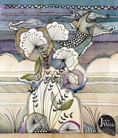 Art journal inspiration - Nightsky Illustration by Jessica Wilde