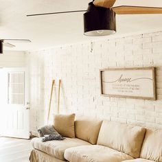 Soft modern tones makes Instagram user @westoutwest home feel so cozy! The matte black Cranbrook really pops in this room! Hunter Ceiling Fans, Hunter Fans, 52 Inch Ceiling Fan, Mid Century Modern Furniture, Family Rooms, Living Room Inspiration, Casablanca, Great Rooms, Matte Black