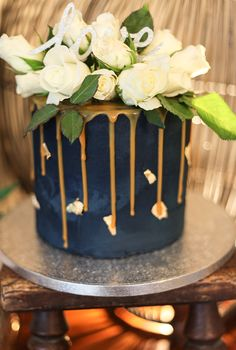 Artisana - Bespoke Cakes Navy Blue Buttercream Cake with Salted Caramel Drip and…
