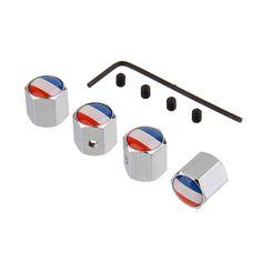 4Pcs/Set White France Flag Logo Anti-theft Valve Caps Silver Wheel Tire Stem Air Caps Auto Styling For Peugeot Citroen