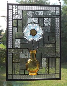Flower in a Vase Stained Glass Panel by connysstainedglass on Etsy