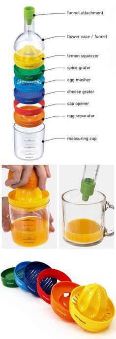 8-in-1 kitchen kit    funnel, grater, juicer, measuring cup & more! #kitchen #cooking #gadgets