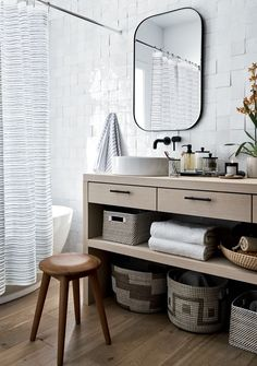A contoured seat adds comfort, while natural wood grain creates a gorgeous surface Bath Accessories, Home Decor Accessories, Crate And Barrel, Minimalist Wall Mirrors, Living Room Decor, Bedroom Decor, Guest Towels, My New Room, Home Interior