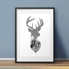 Deer Wall Art. Photo Edit Digital Download Deer Wall Art, Digital Prints, Digital Art, Mountain Photos, Deer Print, Animal Silhouette, Printable Designs, Minimalist Poster, Photo Wall Art