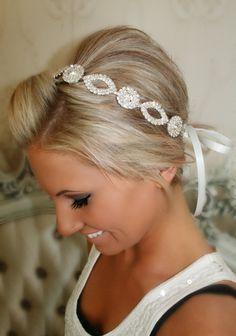 Hairdo...&  Bridal Headband Bridal Head Piece CRYSTAL Rhinestone by BrassLotus, $46.95
