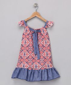 Take a look at this Peach & Blue Damask Angel-Sleeve Dress - Toddler & Girls by Beary Basics on #zulily today!