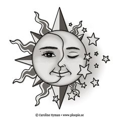 Moon of my life - My sun and stars tattoo | personal tattoo drawing commission