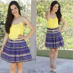 Look por @paaolasantanaa - Amarelo e roxo dá sim! Estampa roxa e camiseta amarela - Crente chic, garotas cristã, menina evangélica