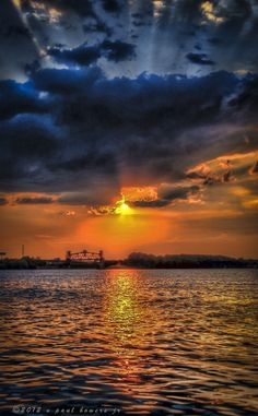 """Sunset In Derby Town, Louisville Kentucky. Bruce says """"If I'm not mistaken, the ground is that middle element of a Army Core of Engineers bridge that links to Indiana."""""""