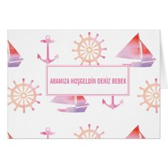 Nautical Personalised Watercolor Pink Stationery Card