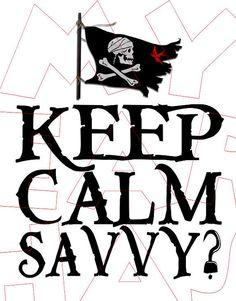 Printable DIY Pirates of the Caribbean Jack Sparrow Keep calm savvy Iron on transfer