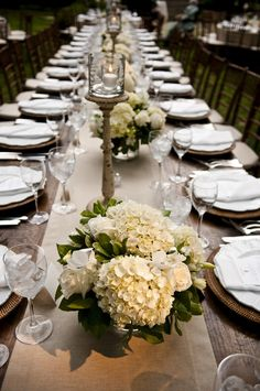 Backyard Virginia Wedding from Modern Life Portraits White Hydrangea Centerpieces, White Floral Arrangements, Wedding Centerpieces, Tall Centerpiece, Flower Arrangements, Wedding Table Flowers, Floral Wedding, Wedding Colors, Chic Wedding
