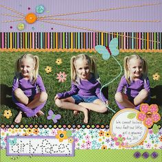 "Sweet Spring ""Girly Faces"" Scrapbooking Page...love the colors & the bakers twine...Liz Qualman Designs - Practical Scrappers Blog."