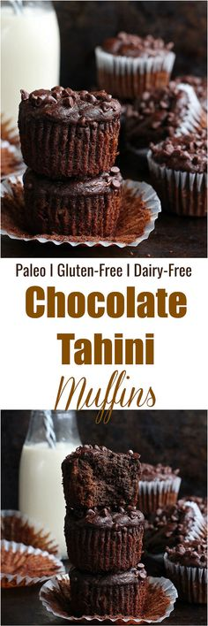These Chocolate Tahini Muffins are made without flour, grain, gluten or dairy! Sweetened naturally, these muffins are gluten-free, paleo and dairy-free. Healthy Muffin Recipes, Healthy Dessert Recipes, Healthy Baking, Snack Recipes, Paleo Recipes, Healthy Snacks, Breakfast Recipes, Healthy Breads, Alkaline Recipes