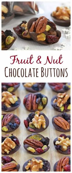 Easy Fruit and Nut Chocolate Buttons Recipe - great idea for homemade Christmas gifts for teachers family and friends christmas food treats Candy Recipes, Holiday Recipes, Dessert Recipes, Fruit And Nut Recipes, Cookie Recipes, Chocolate Buttons, Chocolate Gifts, Chocolate Christmas Gifts, Hot Chocolate
