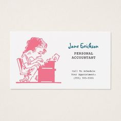 Cute Pink Retro Caricature Woman Accountant Business Card - retro gifts style cyo diy special idea