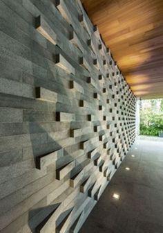 Inspiring Modern Wall Texture Design for Home Interior 80 - Rockindeco Front Wall Design, Exterior Wall Design, Brick Design, Brick Cladding, Brickwork, Wall Cladding, Brick Architecture, Architecture Details, Wall Texture Design