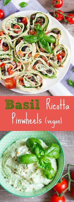 Basil ricotta pinwheels with spinach, tomatoes, and black olives. Perfect for parties! #vegan #pinwheels #vegancheese @veganheavenorg