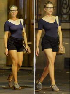 if I had L.A. weather (not too hot but still warm)--and ScarJo's body--I would wear a look like this with the tight shirt of less-than-quarter-length sleeves, high-waisted shorts, and relatively simple low heels