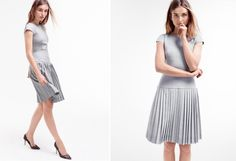 Light wool dress in light heather grey with pleated skirt - J.Crew
