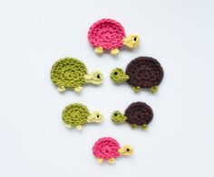 turtle crochet applique pattern for sale on etsy