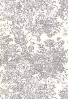 "Toile Florissante  Pearl Grey        Wallcovering SKU - 5004092      Match - Half Drop      Width - 27""      Horizontal Repeat - 27""      Vertical Repeat - 36""      Country of Finish - United States of America"