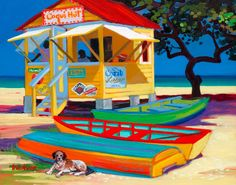 Coqui Hut by artist Shari Erickson Caribbean Art, Caribbean Culture, Tropical Art, Nautical Art, Beach Print, Naive Art, Art For Sale, Amazing Art, Folk Art