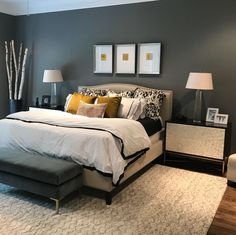 What gray paint color is best? Here are my favorites.Sherwin Williams Cityscape was used in this transitional style master bedroom I'm sharing a few of my favorite gray paint colors used over the years today. Are you needing a new gray paint color? Bedroom Apartment, Home Decor Bedroom, Modern Bedroom, Bedroom Ideas, Bedroom Furniture, Decor Room, Glam Bedroom, Bedroom Rustic, Girls Bedroom