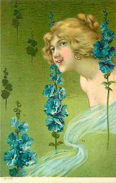 Art Nouveau Postcard Beautiful Blond Haired Woman No 459 | eBay