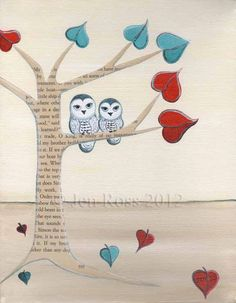 """For Kiki: Owl art print of whimsical owl mixed media painting """"Owls in the Heart tree"""" 8 x 10. $25.00, via Etsy."""